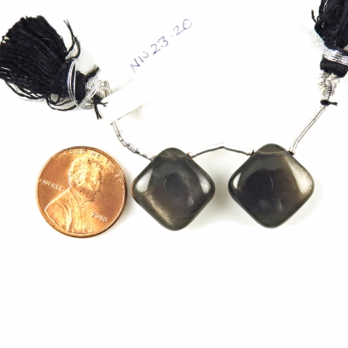 Black Moonstone Drops Cushion Shape 15x15mm Drilled Beads Matching Pair