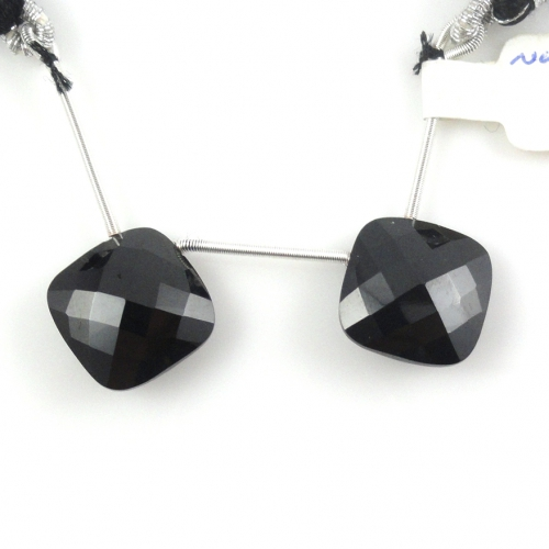Black Spinel Drops Cushion Shape 12mm Drilled Beads Matching Pair