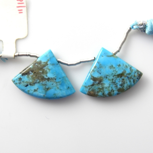 Blue Turquoise Drops Fan Shape 25x19mm Drilled Bead Matching Pair