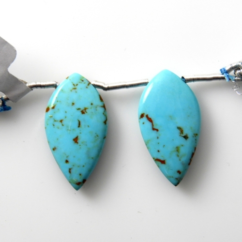 Blue Turquoise Drops Leaf Shape 25x13mm Drilled Bead Matching Pair