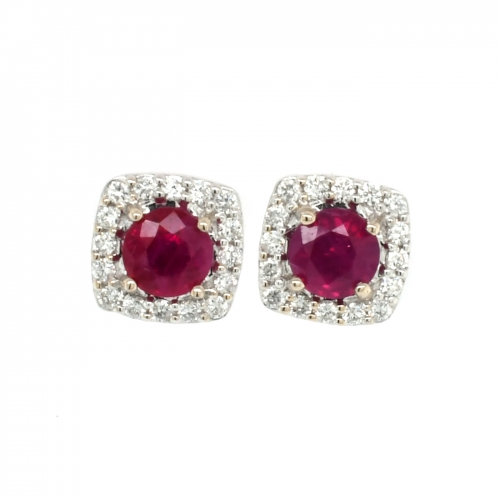 Burmese Ruby Round 1.23 Carat With Diamond Halo Earring In 14k White Gold
