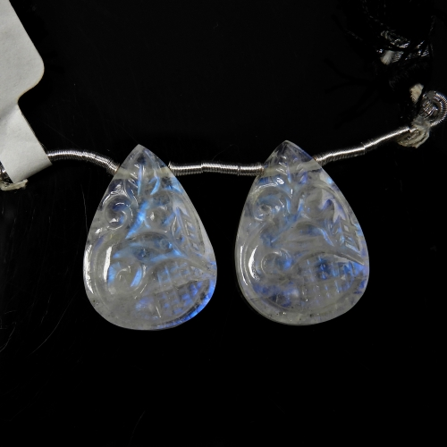 Carved Rainbow Moonstone Drops Almond Shape 21x15mm Drilled Beads Matching Pair