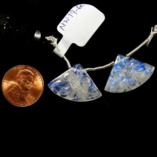 Carved Rainbow Moonstone Drops Fan Shape 24x16mm Drilled Beads Matching Pair