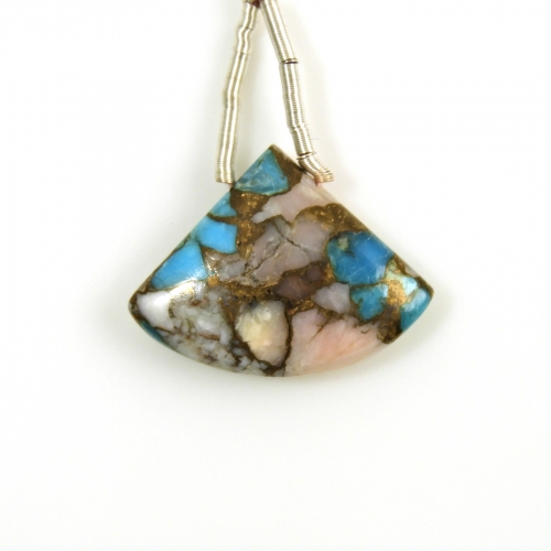 Copper Blue Turquoise And Pink Opal Drop Fan Shape 24x18mm Drilled Bead Single Pendant Piece