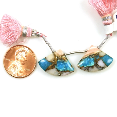 Copper Blue Turquoise And Pink Opal Drops Fan Shape 21x15mm Drilled Beads Matching Pair