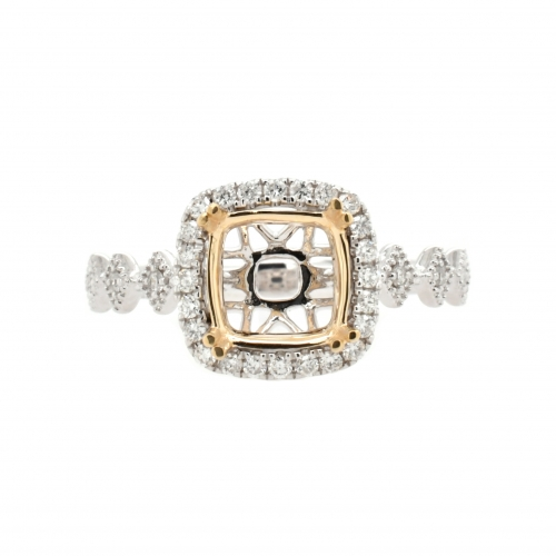 Cushion 7.5mm Halo Ring Semi Mount in 14K Dual Tone (White/Yellow) Gold With White Diamond