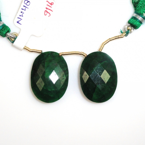 Emerald Drops Oval Shape 23x17mm Drilled Beads Matching Pair
