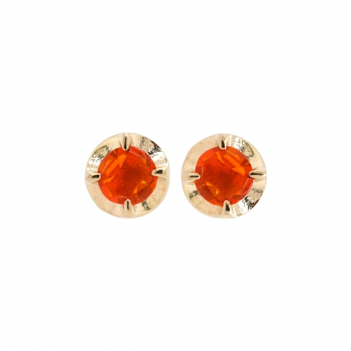 Fire Opal Round 0.25 Carat Stud in 14K Yellow Gold