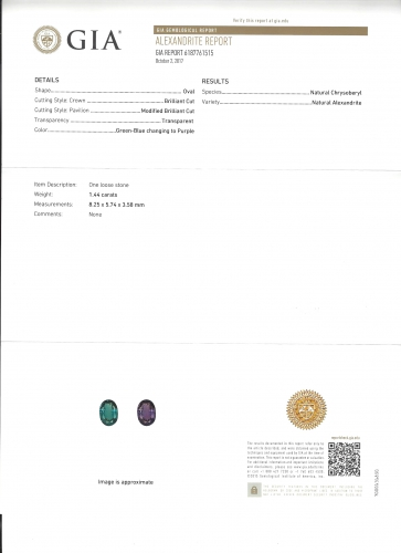 Gia Certified Natural Alexandrite Oval 8.25x5.74x3.58mm 1.44 Carat