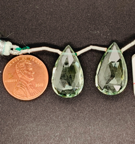 Green Amethyst Almond Shape 19x11mm Matching Pair Drilled Beads