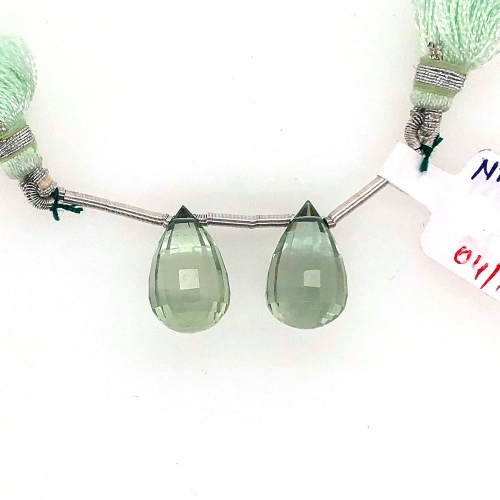 Green Amethyst Drops Briolette Shape 18x10 Drilled Beads Matching Pair