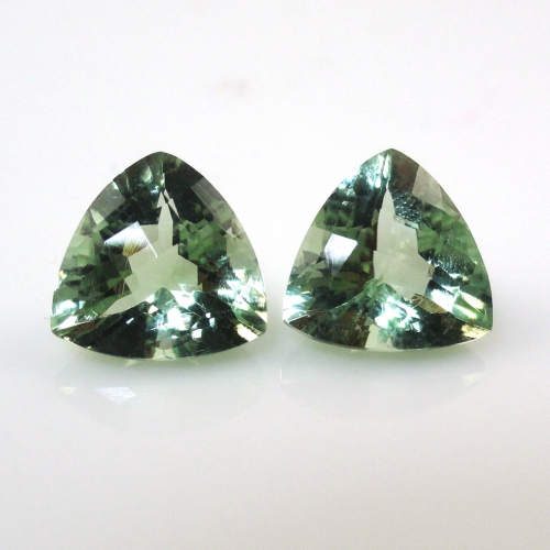 Green Amethyst (prasiolite) Trillion Shape 10x10mm Matched Pair Approximately 5 Carat