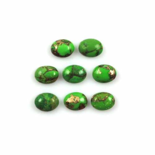 GREEN COPPER TURQUOISE CABS APPROX 8 CARAT OVAL 8X6MM