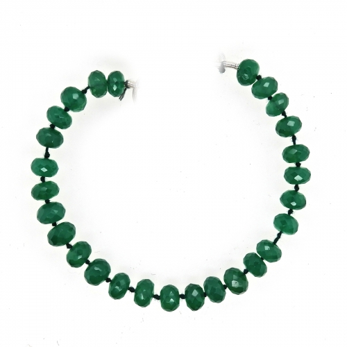 Green Onyx Drops Roundelle Shape 6mm Accent Bead 6 Inch Line