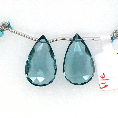 Hydro Aquamarine Drops Almond Shape 25x15mm Drilled Beads Matching Pair