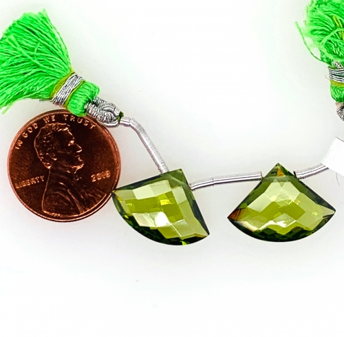 Hydro Peridot Drops Quartz Fan Shape 18x13mm Drilled Beads Matching Pair