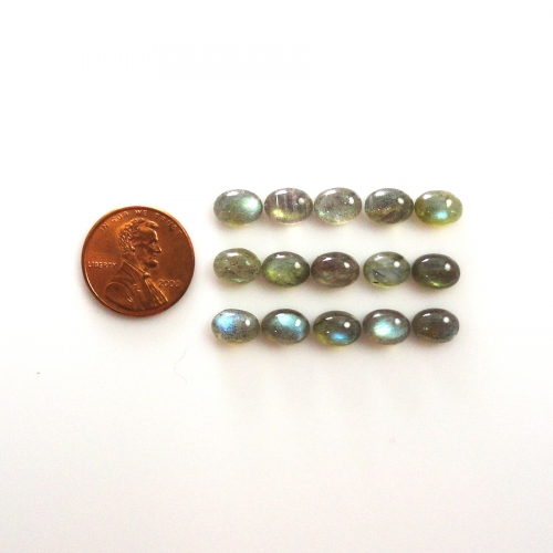 LABRADORITE CABS APPROXIMATELY 17 CARAT OVAL 8X6MM