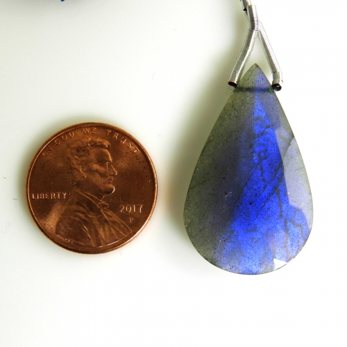 Labradorite Drop Almond Shape 30x18mm Drilled Bead Single Pendant Piece
