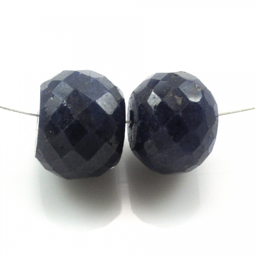 Loose Dyed Blue Sapphire Bead Rondelle 12mm Drilled Beads Matching Pair