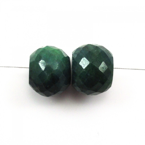 Loose Emerald Bead Rondelle Drilled Bead Matching Pair
