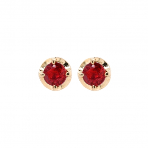 Madagascar Ruby Round 0.86 Carat Stud In 14k Yellow Gold