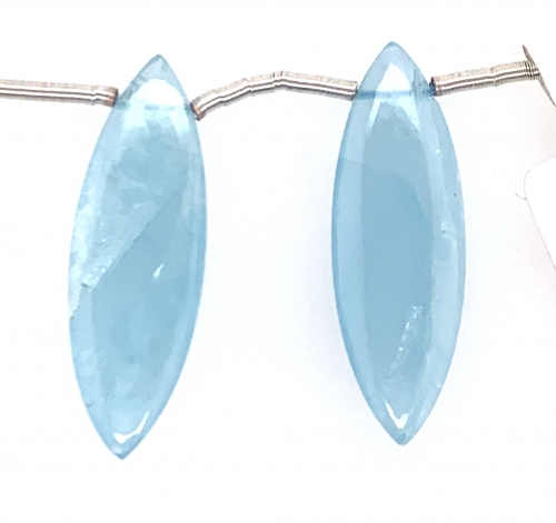 Milky Aquamarine Drop Marquise Shape  28x9mm Drilled Bead Matching Pair