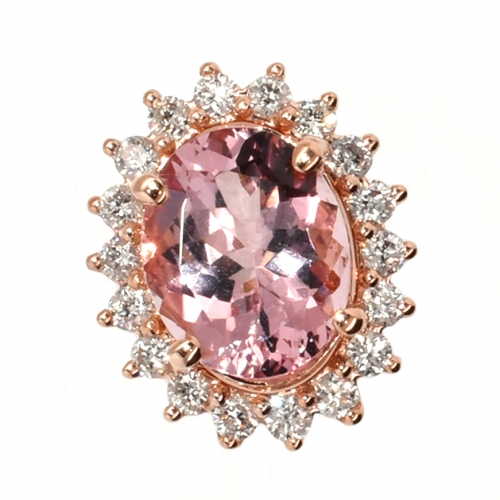 Morganite 2.15 Carat Oval With Floral Diamond Halo Slide Pendant In 14k Rose Gold