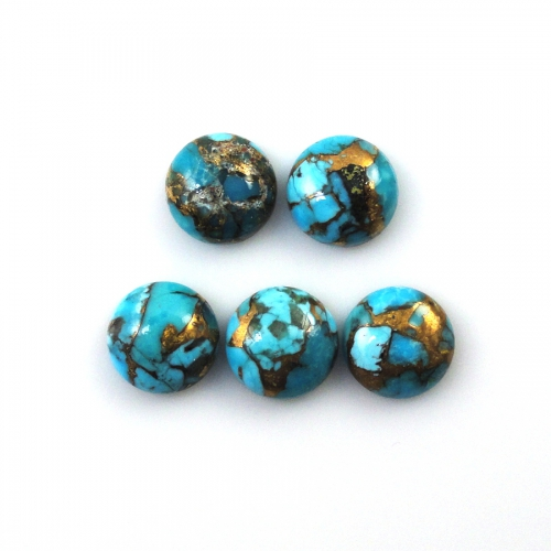 Natural Blue Copper Turquoise Cabs Round 8mm Approximately 9 Carat