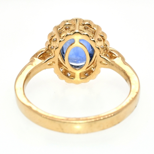 Nigerian Blue Sapphire Oval 1.97 Carat With Accented Diamond Floral Halo Ring In 14k Yellow Gold