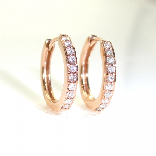 Pave Huggie Hoop Earrings In 14k Rose Gold