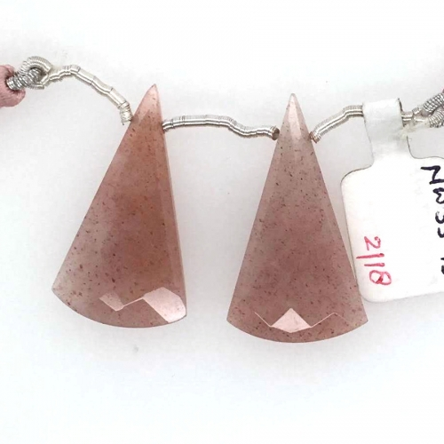 Peach Moonstone Drops Conical Shape 33x17mm Drilled Beads Matching Pair