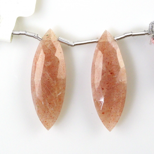 Peach Moonstone Drops Marquise Shape 29x10mm Drilled Beads Matching Pair