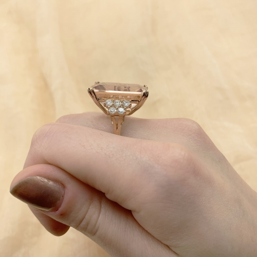 Peach Morganite Emerald Cushion 20.47 Carat Ring With Diamond Accent in 14K Rose Gold