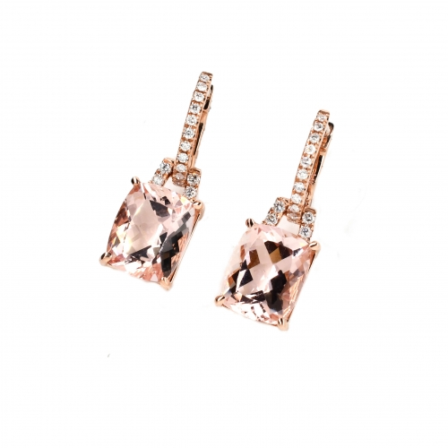 Peach Morganite Emerald Cushion 8.01 Carat With Diamond Dangle Earring In 14K Rose Gold