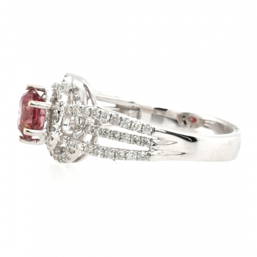 Pink Diamond 0.84 Carat With Accented Diamond Ring In 14k White Gold