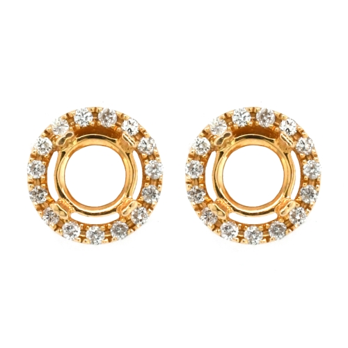 Round 5.5mm Halo Earring Semi Mount in 14K Yellow Gold With White Diamonds