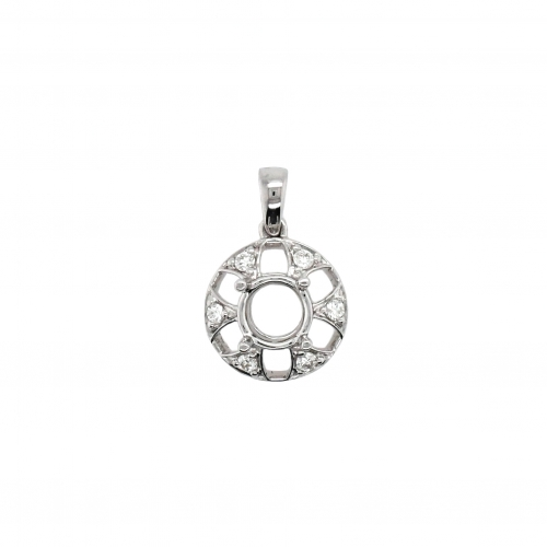 Round 6mm Pendant Semi Mount in 14K White Gold With White Diamond (PD1326)