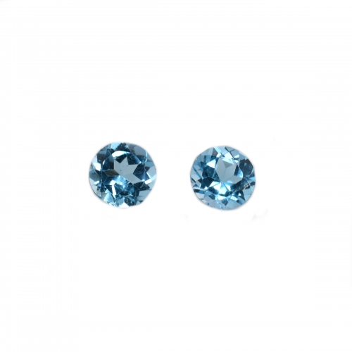 Swiss Blue Topaz Round 6mm Matching Pair Approximately 1.80 Carat