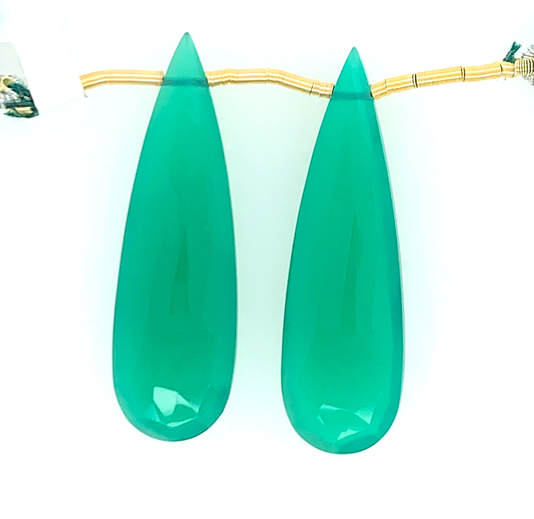 Earring Making Faceted Drops Deep Green Color 31863 Green Onyx Drops Almond Shape 25x15mm Drilled Beads Matching Pair